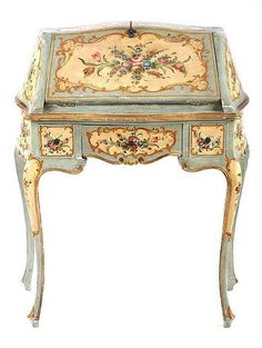 hand painted ladies writing desk - stunning