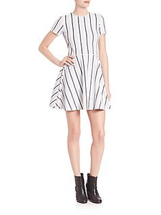 Opening Ceremony Striped Fit-&-Flare Dress - White  - Size