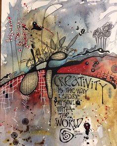 A piece from Karine Swenson's class 'Abstraction: Diving Deeper'. Another… A piece from Karine Swenson's class 'Abstraction: Diving Deeper'. Kunstjournal Inspiration, Art Journal Inspiration, Art Doodle, Art Journal Pages, Art Journaling, Journal Prompts, Abstract Watercolor, Watercolor Sketch, Abstract Oil