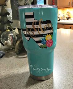 Black and White Striped Texas Decal w/ Name and Flower Swag | Yeti Decal | Flowers | Name Decal | Girly Decal | Corkcicle | Swell Bottle by ByHisSavingGrace on Etsy