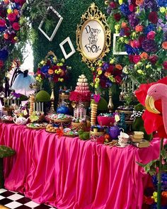 Alice in Wonderland theme candy dessert table by Alice In Wonderland Tea Party Birthday, Alice In Wonderland Decorations, Alice Tea Party, Alice In Wonderland Birthday, Wonderland Party, Sweet 16 Themes, Mad Hatter Party, Quinceanera Themes, Tea Party Decorations