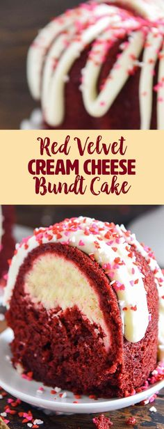 "Red Velvet Cream Cheese Bundt Cake-Love will be forever associated with the color red, which is why red velvet is often thought of as a romantic dessert. When you want to say ""I love you"" with food, this rich, moist, red velvet bundt cake swirled with a sweet cream cheese filling is the perfect sweet treat recipe. Top it with a cream cheese frosting and colorful sprinkles for an extra special touch on Valentine's Day, an anniversary, bridal shower or birthday."