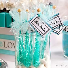 Custom tags are a huge party trend and they're a cinch to do for these take-home bridal shower rock candy favors.