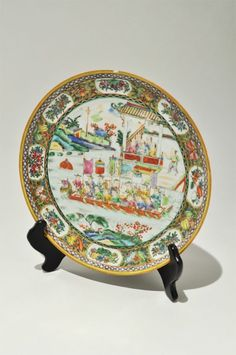 ANTIQUE CHINESE Famille Rose Gold Paint Porcelain Plate Court Figure Dragon Boat
