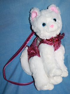 "White plush Cat Purse pink Sequins Girl bag 10"" Poochie & Co stuffed soft toy #PoochieCo"