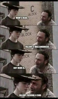 Hey Coral What's Glenn's Favorite Restaurant funny memes meme lol funny quotes humor the walking dead rick Walking Dead Coral, Carl The Walking Dead, Walking Dead Funny, Twd Memes, Funny Memes, Hilarious, Nerd Funny, Funny Quotes, Memes Humor