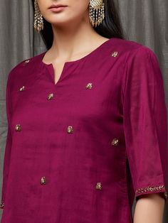 Burgundy Embellished Cotton Silk Kurta with Pants - Set of for Women : Buy Designer & Printed Suit Sets OnlineAdd a Charm to your Wardrobe with the best combination of Suit Sets - Hand Printed & hand embroidered in the perfect cottons & Silks. Silk Kurti Designs, Churidar Designs, Kurta Designs Women, Kurti Designs Party Wear, Lehenga Designs, Neck Designs For Suits, Dress Neck Designs, Designs For Dresses, Blouse Designs