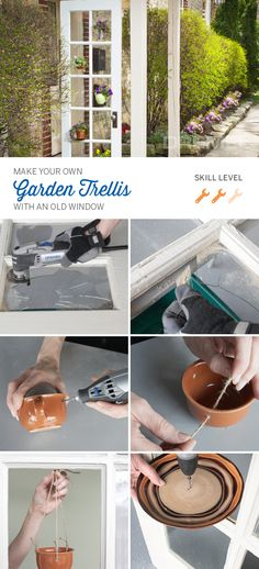 Upcycle old windows in your yard and make a DIY garden trellis. #Dremel shows you how.