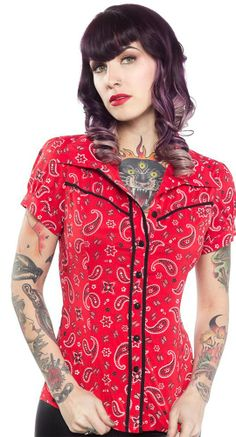 For the Jolene Bandana Print top in Red, Sourpuss has updated it and gave it a western flair! #BlameBetty