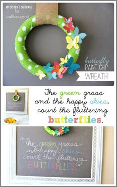 Make a paint chip wreath with this easy wreath tutorial. DIY wreath made with paint chip butterflies for home decor in spring season. DIY paint chip wreath.