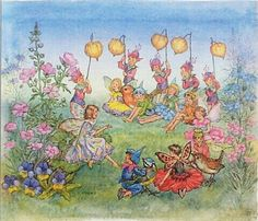 Vintage children's book. Molly Brett illustration - Fairy picture. Fairies, Pixies, Birds n Flowers. 1982............