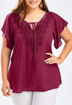 Plus Size Lace Trim Tie Front Blouse