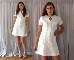 Vintage 60s Mod Wedding Dress  White Modern by TheSecondShift, $64.00