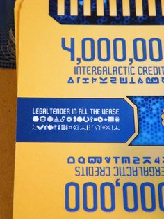 Legal tender in all the verse (appears in a few different languages). A bit of an homage to the best show in TV history (Firefly). Close of the detail on the cards in my For Sale retheme.