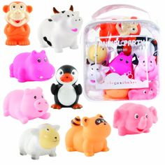 Elegant Baby Squirties  Set comes with eight colorful squirting bath toys Vinyl zip bag included for easy storage Set includes animals like penguin, monkey, pig, cow, hippo and more  Price:	$13.26 available now at webmallforyou.com