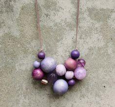 Statement necklace, purple, lilac, bubble, bib necklace, wooden bead necklace, chunky necklace, contemporary, woven bead necklace, fashion.