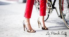 French cuff: red pants, leopard pumps.