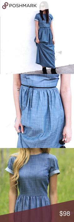 Shabby Apple 'Gemma' Denim Dress This Shabby Apple denim maxi dress is in perfect condition - worn once for a shoot. Features back zip closure and cuffed sleeves. (Black tie not included). No trades but make me an offer! Shabby Apple Dresses Maxi