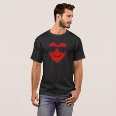 Smile Heart Emojis with Glasses T-Shirt Gift - Saint Valentine's Day gift idea couple love girlfriend boyfriend design