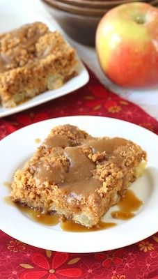 Apple Coffee Crumb Cake with Brown Sugar Glaze Recipe on twopeasandtheirpod.com