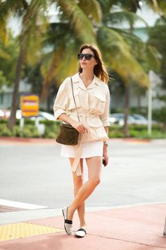 Cream coat jacket, white shoes. Summer street women fashion outfit clothing style apparel @roressclothes closet ideas