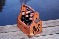 Rustic Beer Carrier Personalized Beer Caddy by RusticCabinStudio