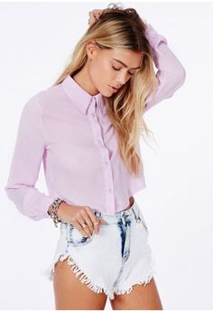 Missguided - Kinea Lilac Cropped Blouse With Long Sleeves
