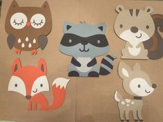 Set of 8 Woodland Animals Deer Owl Squirrel Skunk Beaver Hedgehog Fox Raccoon Woodland Animals Theme, Woodland Baby, Woodland Creatures, Forest Animals, Woodland Nursery, Animal Cutouts, Forest Theme, Forest Party, Felt Ornaments