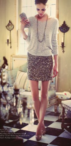 sequined skirt and slouchy top