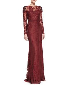 Long-Sleeve Lace Overlay Beaded-Shoulder Gown by Notte by Marchesa at Neiman Marcus.