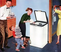 20th Century Illustrators :: Stan Ekman, 1959, displays the top-loader with daddy and pipe helping.
