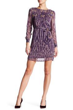 Printed Long Sleeve Shift Dress