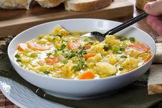 This cheesy version of cabbage soup is inspired by an Old World recipe. Scandinavian Cabbage Soup is chock-full of veggies and creamy richness, making it a hearty and flavorful main dish, and it only takes 30 minutes from start to finish! Cabbage Soup Recipes, Easy Soup Recipes, Cooking Recipes, Cooking Ideas, Casserole Recipes, Dinner Recipes, Korma, Biryani, Sauteed Cabbage