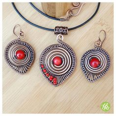 Wire coral jewelry set red wire necklace by FromRONIKwithLove