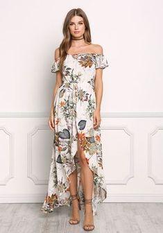 9771c1d46 Cream Bardot Floral Maxi Romper - Jumpsuits & Rompers - Clothes Maxi  Romper, Romper Outfit. Maxi RomperRomper OutfitLong Summer DressesSimple ...