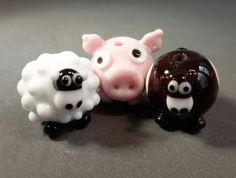 Farmyard+friends+Handmade+Lampwork+bead+set+SRA+by+BeadsbyKat,+£15.00