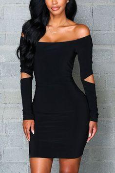 Black Off Shoulder Long Sleeves Hollow Design Mini Party Dress