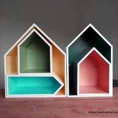 Купить Полка - домик (Комплект из 5 штук) - белый, дом, хранение, детская, интерьер, жилье