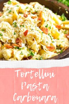 Tortellini Pasta Carbonara - Prepare dinner tortellini pasta carbonara is rather easy and can make you content when using the final result. You will use a great lunch or supper with you homemade. The substances are not problematic, and you'll purchase it everywhere. #pastafoodrecipes #tortellinicarbonara Tortellini Pasta, Pasta Carbonara, Evening Meals, Pasta Recipes, Potato Salad, Macaroni And Cheese, Cook Dinner, Yummy Food, Lunch