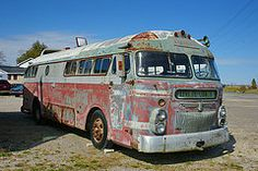 Cool Trucks, Big Trucks, Streamline Bus, Abandoned Cars, Abandoned Vehicles, Peterborough Ontario, Rv Bus, Automobile, Short Bus