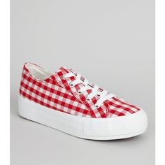 New Look Red Gingham Flatfrom Trainers ($23) ❤ liked on Polyvore featuring shoes, sneakers, red pattern, round cap, laced shoes, round toe sneakers, flatform shoes and lace up shoes