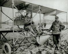 Pilot Tony Jannus and Captain Albert Berry with the Benoist-built bi-plane they used when Berry became the first person to parachute from an airplane on 1 March 1912.