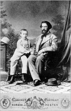 Zichy Mihály fiával, Miklóssal Budapesten, 1874 körül.