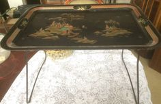 1950/60 Worcester Ware metal serving/bed tray with fold up legs. It measures 20 x 14 inches. When the legs are folded down it stands 13 inches high. The tray has an oriental theme.      Welcome to WeLoveItShop:    We are confidient that you are aware that buying and selling of antiques is one of the oldest forms of recycling there is. People for centuries have been   buying, selling and passing on items that are collectable, decorative or of household use and are valued because of their age…