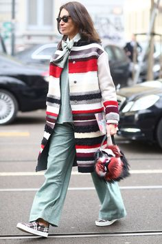 This can't-miss mix is all about classic checks and stripes. Milan Fashion Week Fall 2014 Street Style