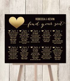 Elegant Wedding Seating Chart DIY / Art Deco Poster / Gold and Black / Faux Metallic Gold Foil / Find Your Seat / Printable PDF ▷ Customized by JadeForestDesign on Etsy https://www.etsy.com/listing/233121639/elegant-wedding-seating-chart-diy-art