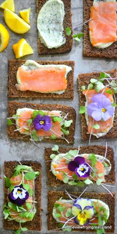 Open Faced Smoked Salmon Sandwiches So pretty with the flowers. Norwegian Smoked Salmon Open Faced Sandwiches The View from Great IslandSo pretty with the flowers. Norwegian Smoked Salmon Open Faced Sandwiches The View from Great Island Healthy Sandwiches, Tea Sandwiches, Tapas, Smoked Salmon Sandwich, Nordic Recipe, Open Faced Sandwich, Good Food, Yummy Food, Healthy Food