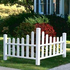 New England Arbors Country Corner Picket Fence - Garden Fences & Gates at Haynee. New England Arbo Picket Fence Garden, Vinyl Picket Fence, Garden Fence Panels, White Picket Fence, Farm Fence, Wooden Fence, Garden Fencing, Wooden Garden, White Fence