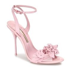 Sophia Webster Lilico Leather Ankle-Strap Sandals ($550) ❤ liked on Polyvore featuring shoes, sandals, heels, pink, pink sandals, leather ankle strap sandals, floral print sandals, pink shoes and pink leather sandals