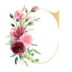 Watercolor Art Paintings, Watercolor Flowers, Painted Letters, Hand Painted, Alphabet Photos, Embroidery Letters, Floral, Monogram Initials, Decoration